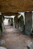 Dolmen from the inside. Megalithic tomb in Brittany, France Stock Photos