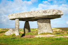 Dolmen Lanyon Quoit in Cornwall. Lanyon Quoit a neolithic dolmen near Lands End in West Cornwall Royalty Free Stock Image