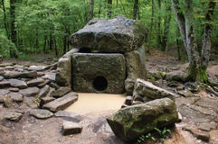 Dolmen of North Caucasus after the rain Stock Image