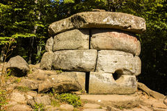 Dolmen, North Caucasus, Russia. Dolmén (from Bret. maen taol-stone table) is an ancient funerary and religious buildings, belonging to the category of Royalty Free Stock Photos