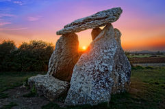 Dolmen of Sorginetxe. At sunset Stock Image