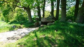 Dolmen. Stone Age artifact on the German island Rugen visited in the spring. Huge mister. Lost Slavic culture Stock Images