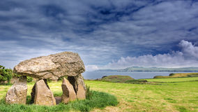 Dolmen. In Wales with a great view of the sea stock photography