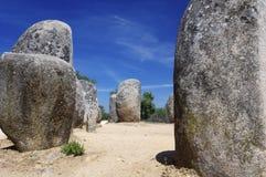 Dolmens. Almendres Cromlech view near Evora, Alentejo, Portugal Royalty Free Stock Photos
