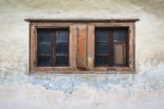 Dolna Lehota village in Orva region. Window of a traditional house in Orava region, Slovakia stock images