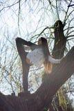 Dolnego widoku dziewczyny powabna śliczna szczupła gimnastyczka jest na górze niezwykłego drzewa bez liści i wykonuje elementy ro obraz stock