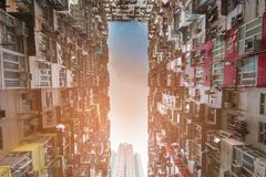 Dolnego widoku mieszkania miasta Hong Kong w centrum siedziba obraz royalty free