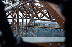 Dolni摩拉瓦,捷克- 2015年12月05日:天空步行 库存照片