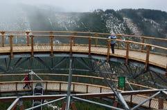 Dolni Morava, repubblica Ceca - 5 dicembre 2015: Passeggiata del cielo Fotografia Stock Libera da Diritti
