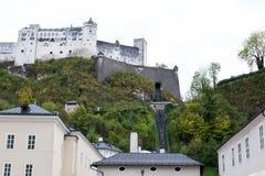 Dolny widok Festung Hohensalzburg Zdjęcie Stock