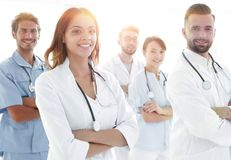 Dolny widok profesjonalista drużyna lekarki centrum medyczne Obrazy Royalty Free