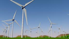 Dolny widok set turbiny tworzy farm? wiatrow? na zielenieje pole z chmurnym niebieskim niebem w ci?gu dnia royalty ilustracja
