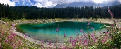 Dolomia del lago Kareersee Fotografie Stock
