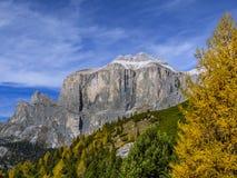 Dolomia, gruppo di Sella, Tirolo del sud, Italia Immagine Stock