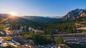 Dolomia maestose catena montuosa, valle con il dolom del sud del Tirolo Fotografie Stock Libere da Diritti