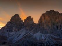 Dolomia, passaggio Tirolo del sud, Italia di Sella Fotografia Stock