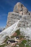 Dolomia - vista del rifugio di Averau Fotografia Stock