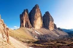 Dolomit alpestre - montaña del Cime de Tre fotografía de archivo libre de regalías