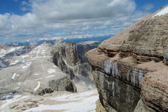 Dolomite Alps beautiful rocky peaks panorama Royalty Free Stock Images
