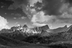 Dolomite Alps in black and white Royalty Free Stock Photos