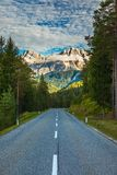 Dolomite Alps in Italy. Beautiful day. The road passes in the co. Niferous forests at the foot of limestone and dolomite rocks. The concept of active and car Royalty Free Stock Photography