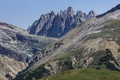 Dolomite Alps, Italy. Mountains around Tre Cime di Lavaredo - Dolomites, Italy Royalty Free Stock Photo