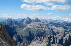 Dolomite Alps mountain rocky scenery. Beautiful rocky peaks, mountain and gray stones on a sunny day, deep blue sky with some clouds. Beautiful mountain stock photos