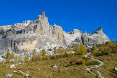Dolomite Alps mountains alpine rocky peaks in autumn