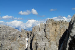 Dolomite Alps rocky peaks beautiful view Royalty Free Stock Images