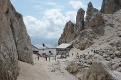 Dolomite Alps, Toni Demetz Alpine Hut Royalty Free Stock Photos