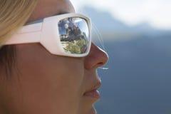 Dolomite Alps Tre Cime di Lavaredo reflecting in woman glasses Royalty Free Stock Images