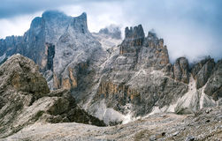 Dolomite group of the Catinaccio, Rosengarten Royalty Free Stock Photography