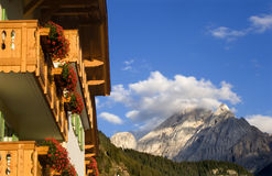 Dolomite - hotel and peak Stock Image