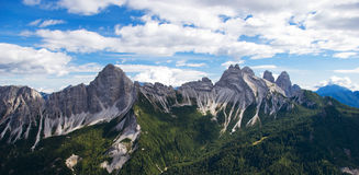 Dolomite Mountain Ridge. A view from Monte Rite  in the heart of the Dolomite Mountans of Italy Stock Photography