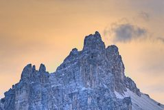 Dolomite Mountain Top. Mountain in the Dolomites area in Italy after sunset Royalty Free Stock Image