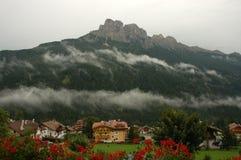 Dolomite Mountains,Italy. View from hotel window in Vigo Di Fassa,Italian Dolomite Stock Photo