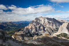 Dolomite Mountains over blue sky. Dolomites, Italy, Europe. Morning view of Dolomites, Trentino-Alto-Adige region, Italy Royalty Free Stock Photo
