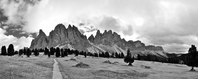 Dolomite Odle chain landscape BW Royalty Free Stock Images