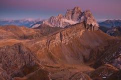 Dolomite peak after sunset Royalty Free Stock Photo