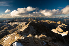 Dolomite peaks. Panoramic view from Piz Boe, Sella, Italy Royalty Free Stock Photography