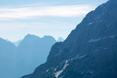Dolomite peaks, mountains and blue horizon in Itally Stock Images
