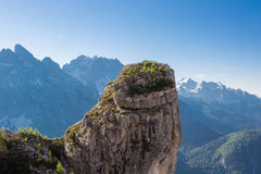 Dolomite peaks, mountains and blue horizon in Itally Stock Photo