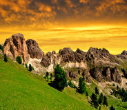 Dolomite peaks, Rosengarten. In the sunset,Val di Fassa, Italy Alps Stock Photography