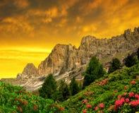 Dolomite peaks, Rosengarten Stock Image
