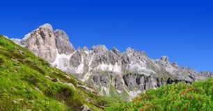 Dolomite peaks, Rosengarten. Val di Fassa, Italy Alps Stock Image