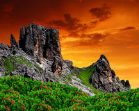 Dolomite peaks, Rosengarten Royalty Free Stock Photo