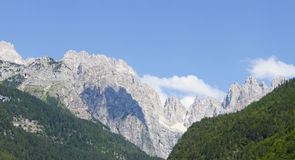 Dolomite rocks. Panorama of Dolomites mountains in Italy during summer Stock Photography