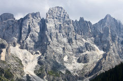 Dolomite rocks. Panorama of Dolomites mountains in Italy during summer Stock Photos