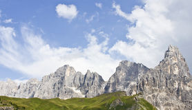 Dolomite rocks. Panorama of Dolomites mountains in Italy during summer Royalty Free Stock Photos