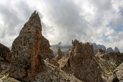 Dolomite`s landscape - Col Pradat. Col Pradat at Colfosco - Alta Badia - Landscape of Dolomites mountain in Sud Tyrol, Italy Royalty Free Stock Photography